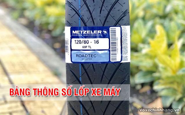 Bảng thông số lốp cho từng loại xe máy mới nhất hiện nay - 1